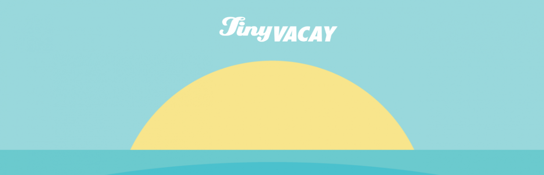 TinyVacay logo above yellow sun