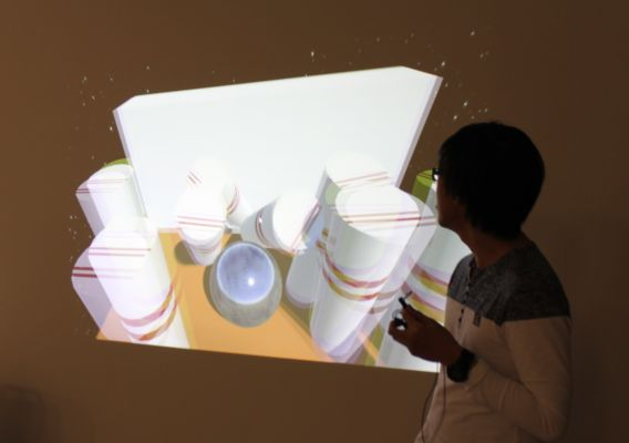 student showing bowling game